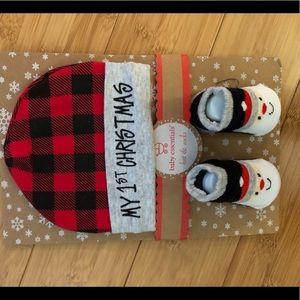 Newborn Christmas hat and socks. New